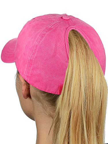(D&Y Ponyflo Ponytail Messy High Bun Distressed Adjustable Cotton Baseball Cap, Hot Pink)