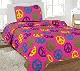 Twin Peace Printed Quilt Bedding Bedspread Coverlet Pillow Case 2Pc