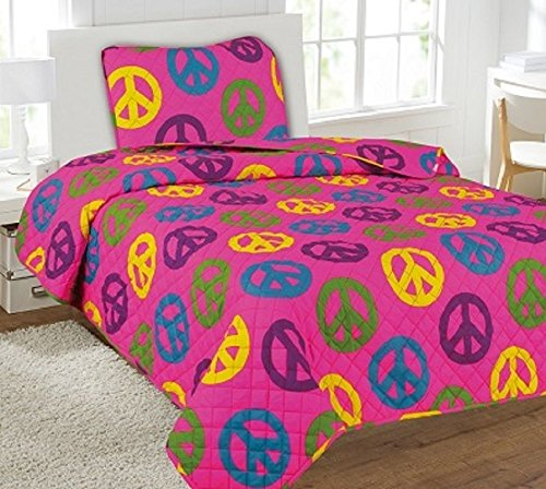 Big Peace Signs 5Pc Combo Set Quilt/Sheet Twin Bedding Bedspread Coverlet by Bedding Set (Image #1)