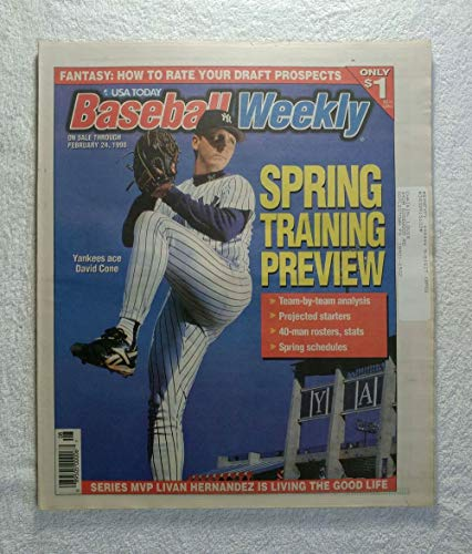 David Cone (New York Yankees) - Spring Training Preview - Baseball Weekly Magazine - February 24, 1998 - World Series MVP Livan Hernandez (Florida Marlins) article