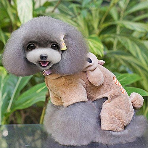 Urparcel Puppy Pet Small Dog Fleece Hoodie Coat Bone Jumpsuit Clothes Brown X-Small