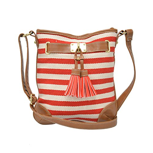 Cranberry Cute New Striped Cloth Crossbody Bag, Small Faux Leather Trim Letter Carrier (Red & Off-White)