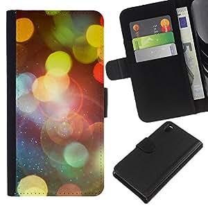 "A-type (Bokeh Luces"") Colorida Impresión Funda Cuero Monedero Caja Bolsa Cubierta Caja Piel Card Slots Para Sony Xperia Z3 D6603"