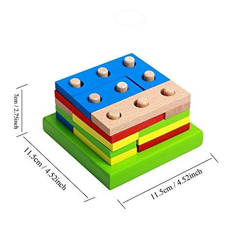 Cheap Wooden Educational Preschool Shape Early Developmental Geometric Board Block Stack Sort Chunky Puzzle Toys