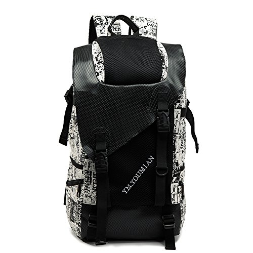 M-CORNER Outdoor Camping Backpack Mountaineering Travel Cycling Hiking Backpack laptop Unisex camping camouflage backpack black Graffiti (Large 30 cm L 16 cm B 53 cm H)