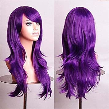OOFAY JF® pelucas cosplay baratas fasion pelucas sintéticas peluca llena 70 cm de color púrpura