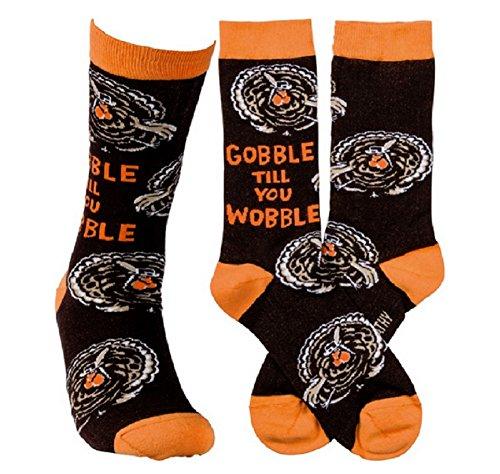 Halloween Thanksgiving Novelty Socks Primitives by Kathy (Gobble Til You Wobble) (Thanksgiving Socks)