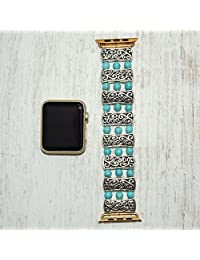 Apple watch band 42mm / 38mm // turquoise iwatch band apple watch accessories - apple watch strap - gold lugs adapter stretch fit