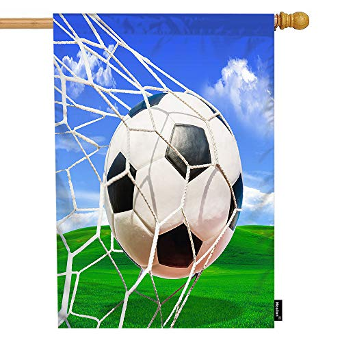 Moslion Soccer House Flag Sports White and Black Football in Ball Net in Green Field Grass Blue Sky Garden Flags 28x40 Inch Double-Sided Banner Welcome Yard Flag Home Outdoor Decor. Lawn Villa]()