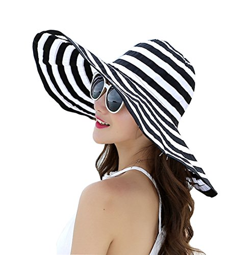 JGJ Womens Sun Hat Summer Beach Hat Foldable Packable UPF 50+ Wide Brim Floppy Cap w/Chin Strap