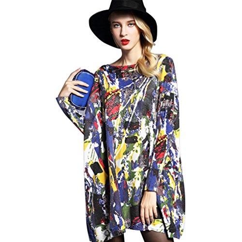 YOUJIA mujer suelto jersey de manga larga yardas grandes pullover tie-dye vestidos Azul