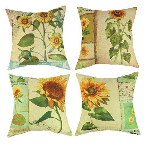 wendana Sunflower Throw Pillow Covers 18 x 18 Set of 4 Farmhouse Pillows Accent Pillows for Sofa Christmas Pillow Covers Decorative Sunflower Accent