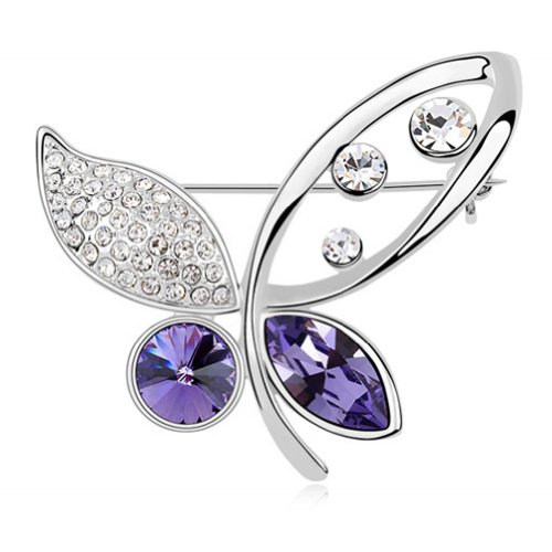 (Latigerf Butterfly Brooch White Gold Plated Swarovski Elements Crystal Purple)
