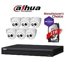 Dahua Branded 8CH Tribrid 1080P DVR Package: HCVR7208 w/2TB HDD + (6) 2MP HDW12A0EN IR 3.6MM Eyeball
