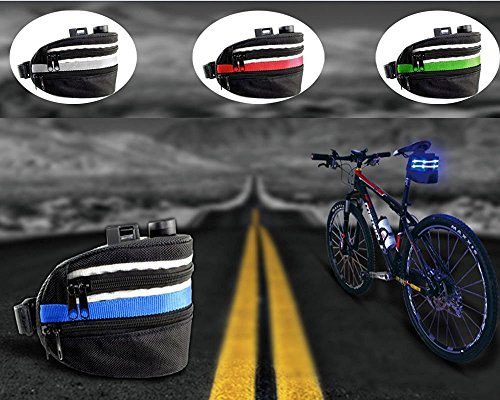 DGXINJUN Strap On Waterproof Bicycle Bike Pack Accessories Rear Seat Pannier Bag Cycling Saddle Carrier Bag Pouch Phone Case With Rechargeable LED Tail Lights Lamp