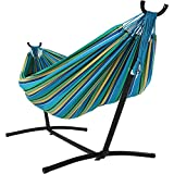 This traditional extra large Brazilian hammock and stand set features vibrant coloring as well as tightly woven cotton material and durable nylon ends for hanging. With a roomy 2-person capacity, this is the perfect addition to your backyard wheth...