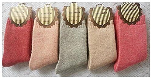5 Pairs Soft & Comfortable & Warm Womens Wool Cashmere Socks One Size Fits all