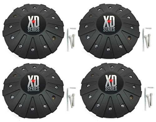 Set (4pcs) KMC XD Series Black Custom Wheel Center Hub Cap 8 1/8