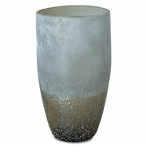 Cape Cod Sparkling Seaside Hurricane Candle Holder or Vase, Art Glass, Iridescent Transitional Tones, Hand Blown Wind Light, Textured Glass, 6 1/4 Diameter x 11 Inches Tall
