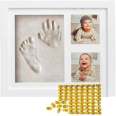 طقم بصمة قدم الطفل مع ختم التاريخ والاسم إطار صورة يدوي من الطين لحديثي الولادة تذكار صورة صاخبة للقدم للفتيات والأولاد Amazon Ae