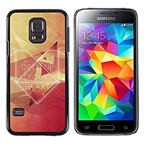 Shell-Star Arte & diseño plástico duro Fundas Cover Cubre Hard Case Cover para Samsung Galaxy S5 Mini / Galaxy S5 Mini Duos / SM-G800 !!!NOT S5 REGULAR! ( Open Up Your Heart Hipster )