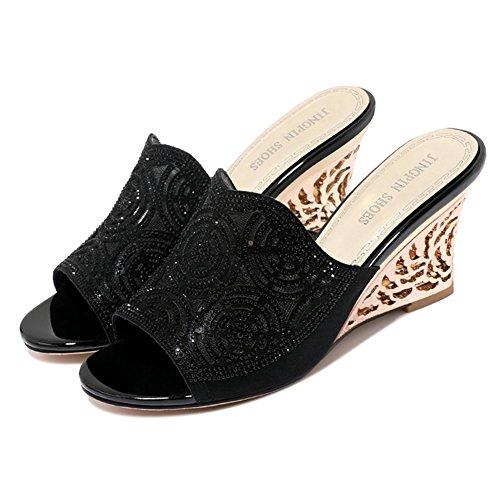 Talón color Resistente Altura Desgaste Negro Grueso Mujer Fondo Colores cn39 De Al Negro Eu39 Moda zapatos Tamaño 2 Mitad Verano 8 uk6 Arrastre Cuñas Zapato 245 Lixiong Zapatillas Del 5cm vOqBBwZ