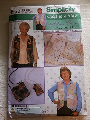 Simplicity 4930 Crazy Quilt Vest and Bag