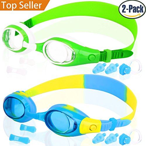 Kids Swim Goggles, COOLOO Swimming Glasses for Children and Early Teens from 3 to 15 Years Old, Anti-Fog, Waterproof, UV Protection
