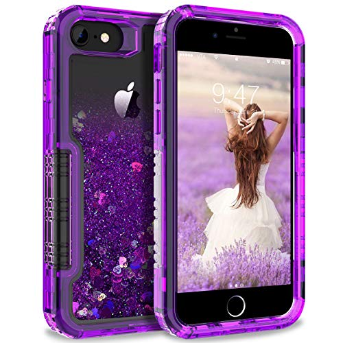Heart Bling Bling (Dexnor Compatible with iPhone 6/ 6S/ 7/ 8 Case Floating Glitter Bling Moving Liquid Quicksand Hard Cover Clear Transparent Thickened Dual Layer Full Protection Bumper for Girls/ Women - Purple)
