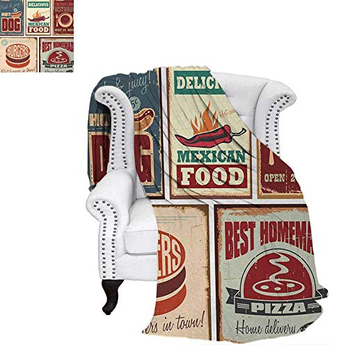 Digital Printing Blanket Nostalgic Tin Signs and Mexican Food Prints Aged Advertising Logo Style Artistic Design Lightweight Blanket 60