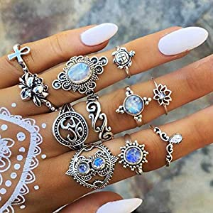 Protuster Boho Rhinestone Knuckle Rings Vintage Stack Able Joint Midi Pinky Finger Rings Set Silver Crystal Hand…