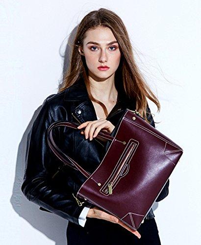 Negro Shoppers Mujer Nueva y de bolsos Piel Negro hombro Genuina SAIERLONG w5SEnXXq