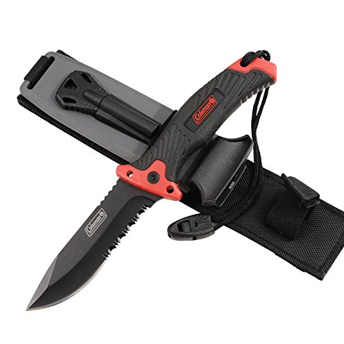 Coleman-Fixed-Blade-Knife-Tactical-Hunting-Knife-with-Military-Sheath-Includes-Emergency-Whistle-Fire-Starter-and-Sharpener-10-Inch-Overall-BlackRed-CM2004