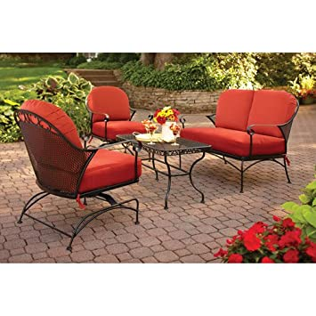 Better Homes And Gardens Clayton Court 4 Piece Patio Conversation Set, Red,  Seats