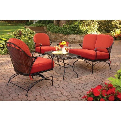 Better Homes and Gardens Clayton Court 4-Piece Patio Conversation Set, Red, Seats 4