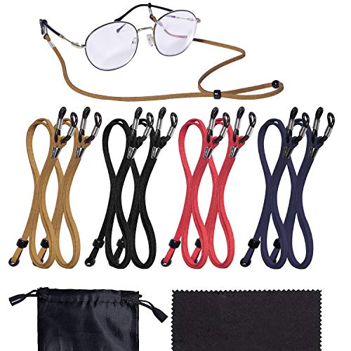 8 Pack Glasses Strap Adjustable Sunglasses Strap with Glasses Cloth Bag ()