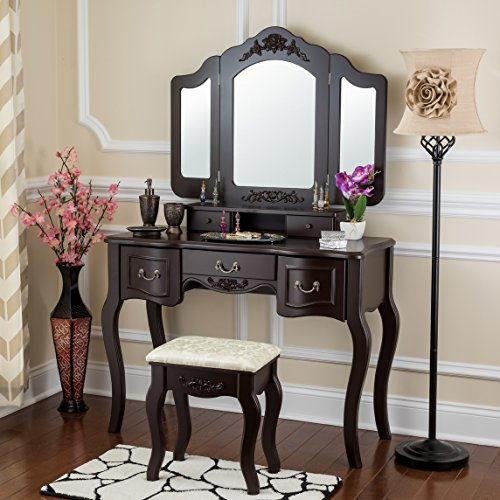 Fineboard Vanity Set Beauty Station Makeup Table and Wooden Stool Set with 3 Mirrors and 5 Organization Drawers Set, Brown