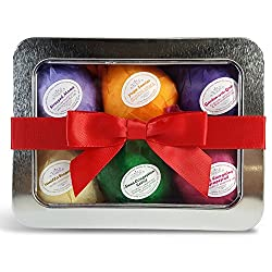 Bath Bombs Gift Set by Rejuvelle- 6 All Natural Essential Oils Bath Bombs, Infused with Shea Butter and Cocoa Butter. Enjoy a Luxuriously Moisturizing Fizzy Lush Bath. Perfect Relaxation Gifts or Birthday Gift for Her!