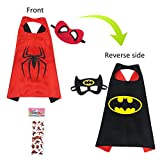 MIJOYEE Double-Sided Design Superheros Cape and Mask for Kids Costume and Dress up (Batman and Spider-boy)