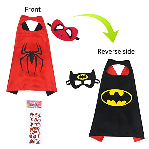 MIJOYEE Double-Sided Design Superheros Cape and Mask for Kids Costume and Dress up (Batman and Spider-boy) by MIJOYEE