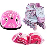 Adjustable Kids Inline Skates 6 PCS Protective Gear Helmet Durable Safe Outdoor Roller Set Pink 12J-2