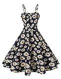 VOGTORY Women's Plus Size Summer Floral Sleeveless Strappy Swing Dress Beach Slip Dress Short Braces Skirt