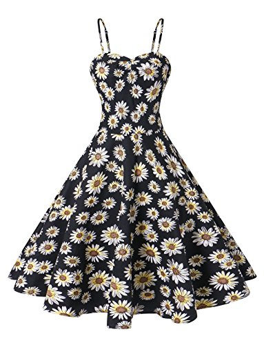 VOGTORY Women's Plus Size Summer Floral Sleeveless Strappy Swing Dress Beach Slip Dress Short Braces Skirt