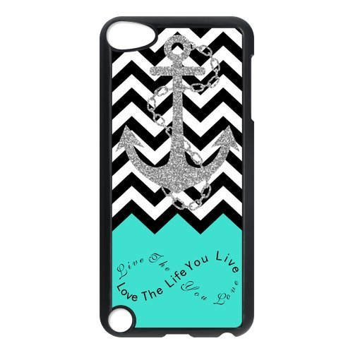 Live the Life You Love, Love the Life You Live. Turquoise Black White Chevron with Anchor luxury cover case for IPod touch5(Black)ALL MY DREAMS