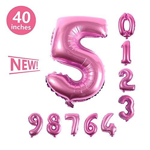 Number Balloons, Toufftek Pink Foil 40 Inch Number 5 Funny Number Balloons for Baby Shower Wedding Anniversary Halloween Party Birthday (Popping Halloween Balloons)
