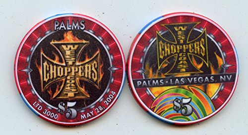 $5 Palms WEST COAST CHOPPERS May 28th 2004 Las Vegas Nevada Casino Chip Uncirculated Collectors Chip Real from the Casino Old Now Obsolete ()
