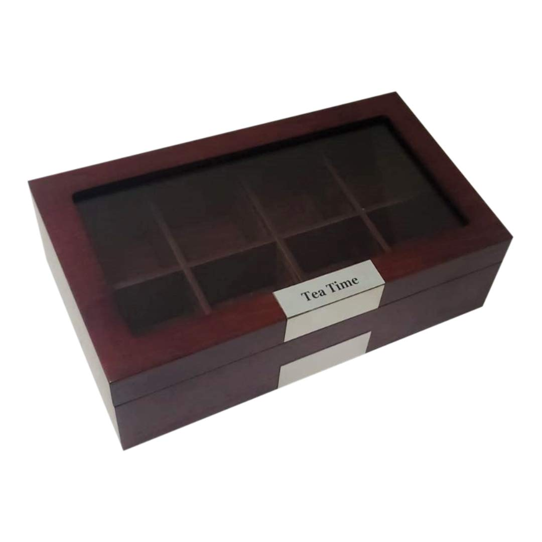 TimelyBuys Personalized 8 Compartment Cherry Wood Tea Box Storage Organizer Chest Box Gourmet Tea Coffee Glass Top Display Lid by TimelyBuys