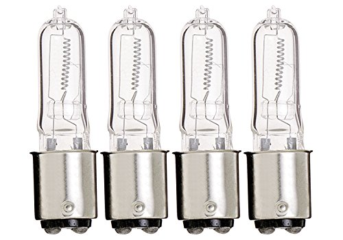(PACK OF 4) JD 50W BA15D Halogen Lamp T4 Clear 50 Watts D.C. Bayonet Base 130V