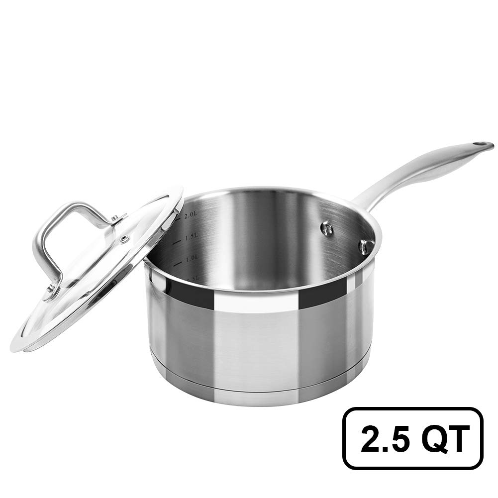 Duxtop Professional Stainless Steel Sauce Pan with Lid, Kitchen Cookware, Induction Pot with Impact-bonded Base Technology, 2.5 Quart by Duxtop