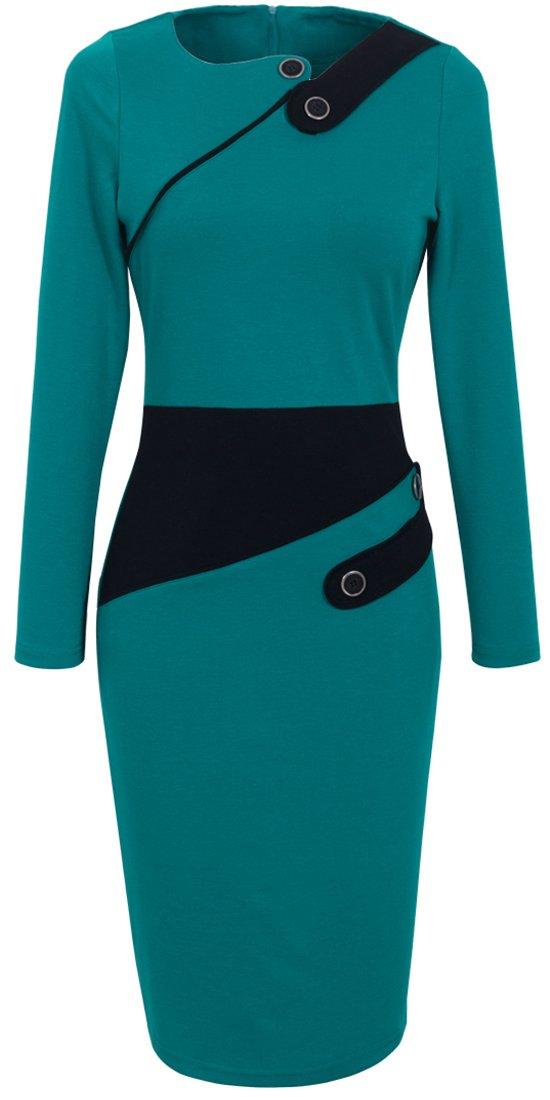 HOMEYEE Women's Voguish Colorblock Wear to Work Pencil Dress B231 (4, Turquoise)